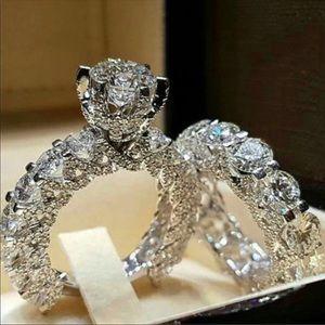Simulated diamond Engagement Ring Set